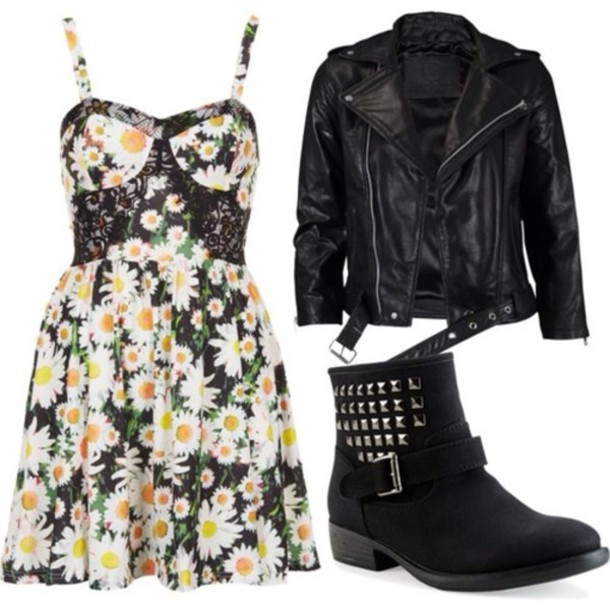 jalm01-l-610x610-dress-sun-flowers-jacket-leather-studs-silver-girly-outfit-idea-cute-hipster-vintage-look-retro-floral-flowers-flower-pattern-print-boots-shoes